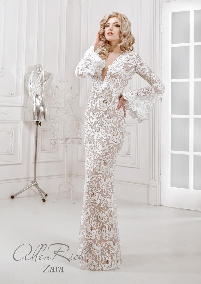 Nude Long Sleeves Lace Wedding Dresses